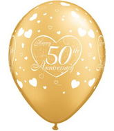 "11"" Little Hearts  Gold 50 Anniversary (50 ct.)"