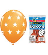 "11"" Big Stars Orange 5 count Latex Balloons"