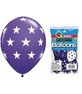 "11"" Big Stars Purple Violet 5 count Latex Balloons"