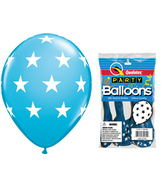 "11"" Big Stars Robin�s Egg Blue 5 count Latex Balloons"
