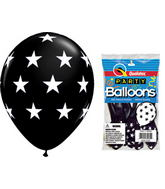 "11"" Big Stars Onyx Black 5 count Latex Balloons"