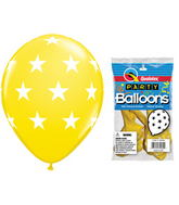 "11"" Big Stars Yellow 5 count Latex Balloons"