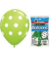 "11"" Big Polka Dots Lime Green 5 count Latex Balloons"