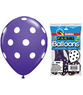 "11"" Big Polka Dots Purple Violet 5 count Latex Balloons"