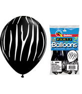 "11"" Zebra Stripes Onyx Black 5 count Latex Balloons"