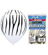 "11"" Zebra Stripes White  5 count Latex Balloons Packaged"