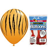 "11"" Tiger Stripes Orange 5 count Latex Balloons Packaged"