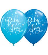 "11"" Baby Boy Stars Assorted Dark Blue & Robin�s Egg Blue 50s"