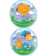 "22"" Get Well Soon! Kites Plastic Bubble Balloons"