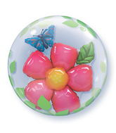 "24"" Leaves Flower Plastic double Bubble Balloons"