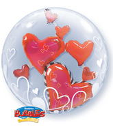 "24"" Lovely Floating Hearts Plastic Bubble Balloons"