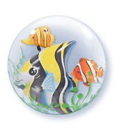 "24"" Seaweed Tropical Fish Plastic Bubble Balloons"