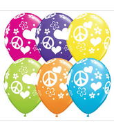 "11"" Peace Signs & Hearts Around Latex Balloons"