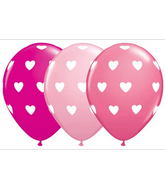 "11"" Big Hearts Latex Balloon Assortment (50 Count)"