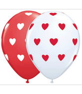 "11"" White & Red Assortment Big Hearts (50 Count)"