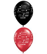 "11"" Love Hearts Black and Ruby (50 ct.)"