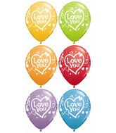 "11"" Love You Vibrant Hearts Festive Assort. (50 ct.)"