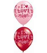 "11"" I Love You Little Hearts Ruby Red and Pink (50 ct.)"