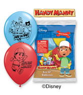 "12"" Handy Manny 6 pack Latex Balloons"