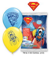 "12"" Superman 6 pack Latex Balloons"