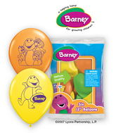 "12"" Barney 6 pack Latex Balloons"