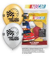 "12"" NASCAR 6 pack Latex Balloons"