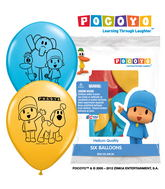"12"" Pocoyo 6 pack Latex Balloons"