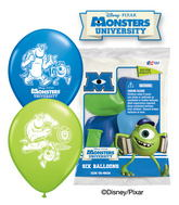 "12"" Monsters University 6 pack Latex Balloons"