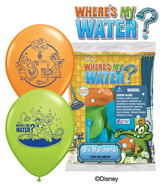 "12"" Where&#39s My Water? 6 pack Latex Balloons"