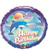 "18"" Birthday Jumping Dolphin Mylar Balloon"