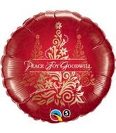 "18"" Peace Joy Goodwill Damask Tree"