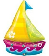 "40"" Tropical Sailboat Jumbo Packaged Mylar Balloon"