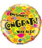 "18"" Congrats! Stars & Balloons Packaged Mylar Balloon"