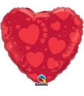 "18"" Red on Red Hearts Balloon"