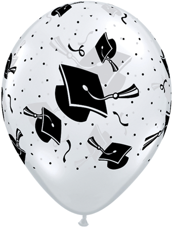 "11"" Graduation Hats Clear Balloon (50 COunt)"