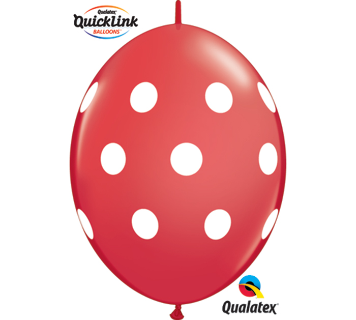 "12"" Qualatex Quicklinks Polka Dots Red"