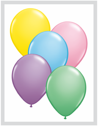 "9""  Qualatex Latex Balloons  PASTEL ASSORT     100CT"