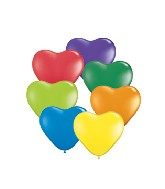 "6"" Heart Latex Balloons (100 Count) Carnival Assortment"