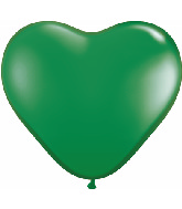 "6"" Heart Latex Balloons (100 Count) Green"
