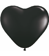 "6"" Heart Latex Balloons (100 Count) Onyx Black"