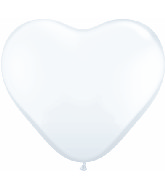 36 Inch Heart Latex Balloons (2 Count) White