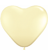 "11"" Heart Latex balloons (100 Count) Ivory Silk"