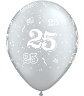 "11"" Number 25 Twenty-Five Metallic Silver 50 per bag"