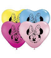 "6"" Minnie Mouse Face Assorted Heart Balloon 100 per bag"