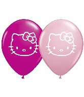 "5"" Hello Kitty Pink and Wild Berry Latex Balloon 100 per bag"
