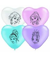 "6"" Disney Princess Face Pearl Assorted Hearts 100 per bag"