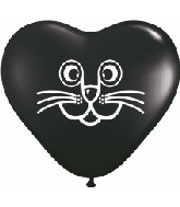 "6"" Onyx Black Cat Face Heart Balloon 100 per bag"