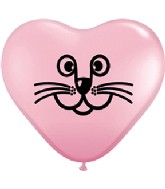 "6"" Pink Cat Face Heart Balloon 100 per bag"