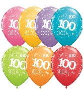 "11"" Number 100 One Hundred Festive 50 per bag"