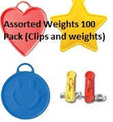 Assorted Weights 100 Pack (Clips and weights)